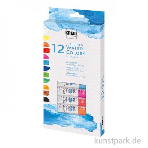 el Greco Aquarellfarben Set - 12 Tuben 12 ml