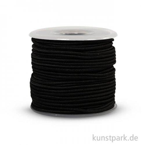 Elastisches Gummiband - Dicke 2 mm, 25 m Schwarz