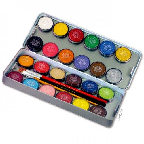 Eulenspiegel 24 Farben Metall-Palette mit 3 Pinsel