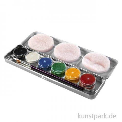Eulenspiegel 6 Farben Metall-Palette mit Pinsel