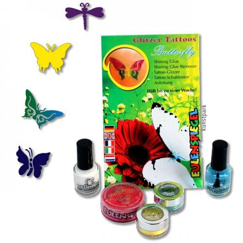 Eulenspiegel Tattoo-Glitzer-Set Butterfly