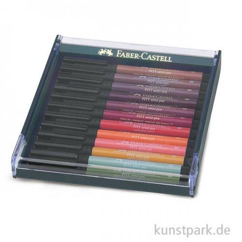 Faber-Castell PITT Artist Pen Brush - 12 Tuschestifte, Erde