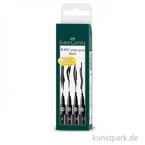 Faber-Castell PITT Artist Pen - 4 Tuschestifte schwarz