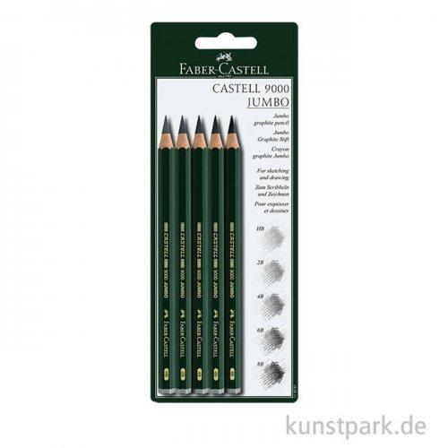 Faber-Castell 9000 Jumbo, 5 Bleistifte mit verschiedenen Härtegrade