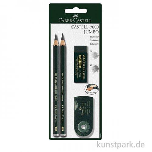 Faber-Castell 9000 Jumbo, 2 Bleistifte mit Anspitzer und Radierer
