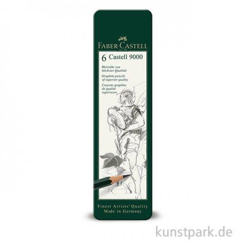 Faber-Castell 9000, 6 Bleistifte im Metalletui