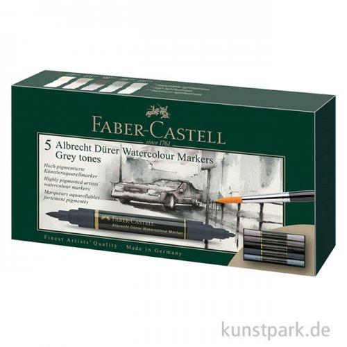 Faber-Castell ALBRECHT DÜRER,5 Aquarellmarker als Grautöne-Set