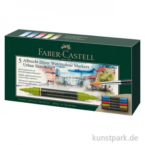 Faber-Castell ALBRECHT DÜRER,5 Aquarellmarker als Urban Sketching-Set
