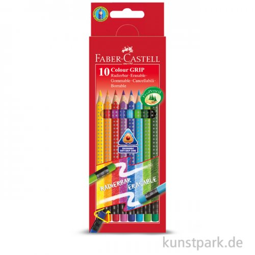 Faber-Castell COLOUR GRIP, 10 radierbare Buntstifte im Kartonetui