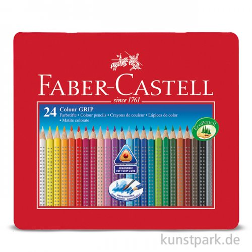 Faber-Castell COLOUR GRIP, 24 Buntstifte im Metalletui