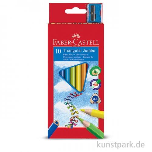 Faber-Castell TRIANGULAR Jumbo, 10 Buntstifte mit Spitzer im Kartonetui