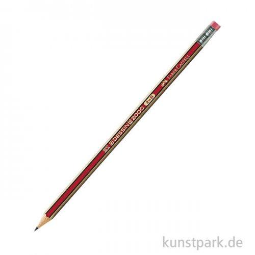 Faber-Castell DESSIN 2001 - Bleistift mit Radierer Härte B