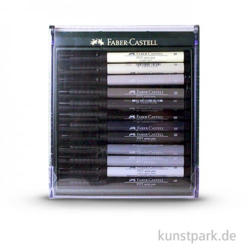 Faber-Castell PITT Artist Pen Brush - 12 Tuschestifte, Grau