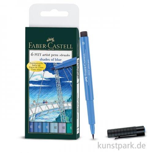 Faber-Castell PITT Artist Pen Brush - 6er Set - BLUE