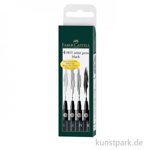 Faber-Castell PITT Artist Pen Tuschestifte - 4er Set schwarz, B+F+M+S