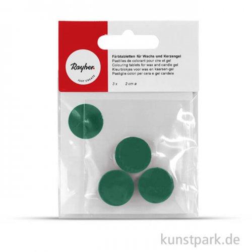 Färbtabletten für Wachs und Kerzen-Gel, 3 Stück Beutel | Grün