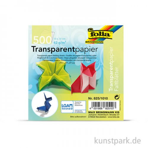 Faltblätter aus Transparentpapier, 500 Blatt, 42g - farbig sortiert 10 x 10 cm