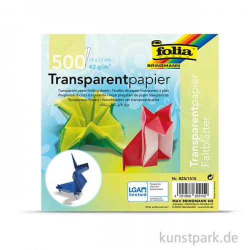 Faltblätter aus Transparentpapier, 500 Blatt, 42g - farbig sortiert 15 x 15 cm