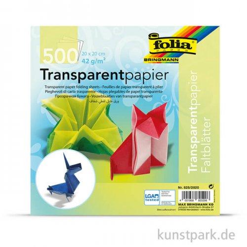 Faltblätter aus Transparentpapier, 500 Blatt, 42g - farbig sortiert 20 x 20 cm