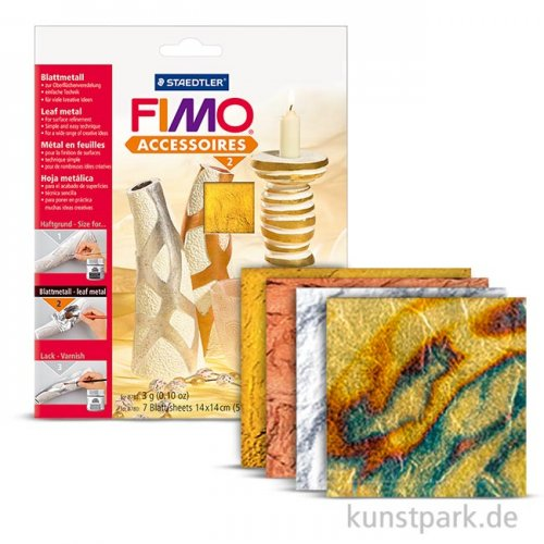 FIMO Blattmetall, 10 Blatt, 14x14 cm Kupfer