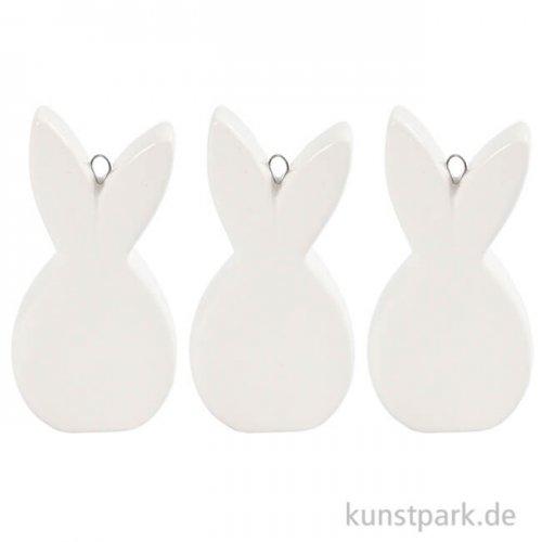 Flache Hasefigur aus weißer Keramik, Größe 7,2 x 3,6 cm, 3 Stück