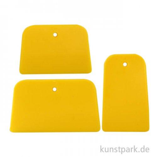 Flächenspachtel-Set - 3 flexible Kunststoffspachtel GELB