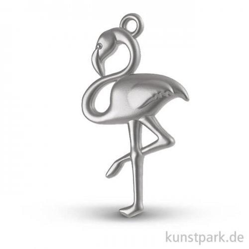 Flamingo - Metall-Anhänger mit Öse - Silber, 27 mm, 1 Stück