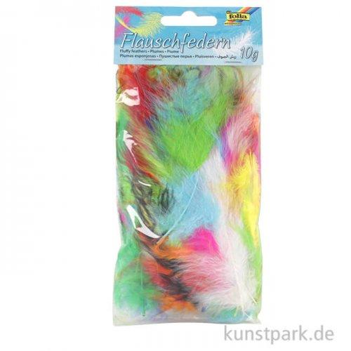 Flauschfedern, 10g - farbig sortiert