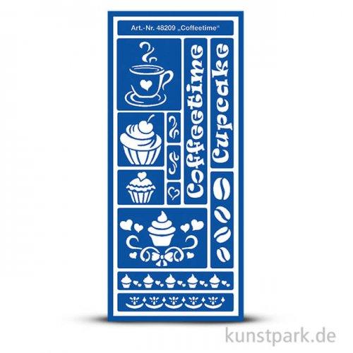 Flexible Designschablone 12,5x28,5 cm - Coffeetime - selbstklebend