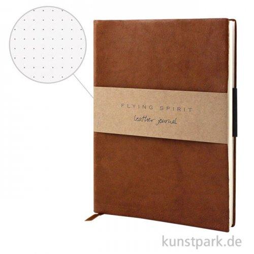 Clairefontaine - Flying Spirit Journal aus Echtleder - Cognac Dotted