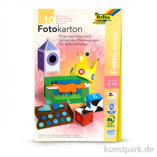 Fotokartonblock, 22x33 cm, 300g, 10 Blatt sortiert