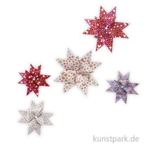 Fröbelsterne Dunkelrot-Natur, 45 - 86 cm, 60 Stück sortiert