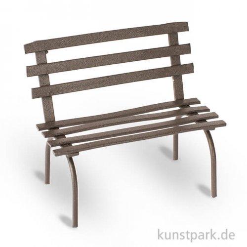 Mini Gartenbank aus Metall - Rost, 6,5x4x5,5 cm
