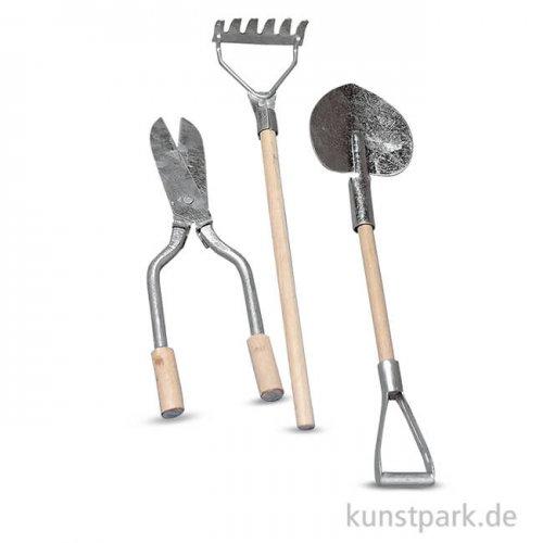 Mini Gartenwerkzeug aus Metall und Holz 9-13 cm, 3 Stück sortiert