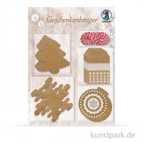 Geschenkanhänger aus Kraftkarton - Weihnachten 2, 20 Stück