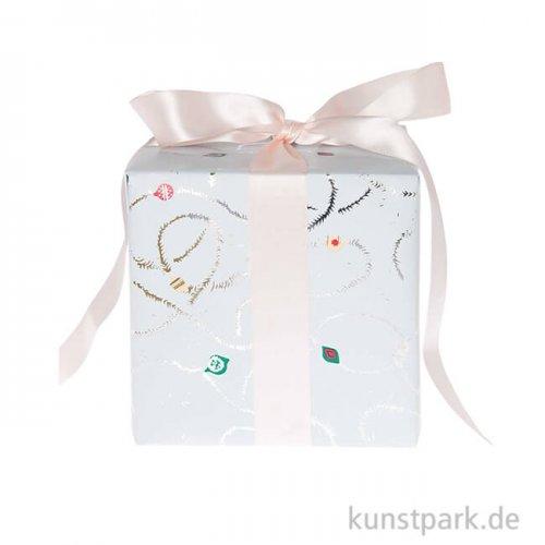 Geschenkpapier - Nostalgic Pastell, Blau, Baumschmuck