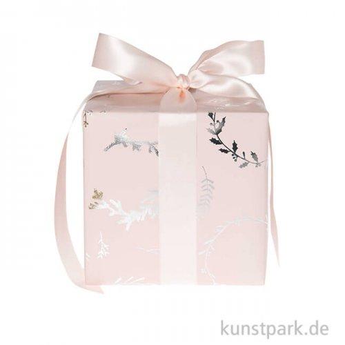 Geschenkpapier - Nostalgic Pastell, Rosa, Kränze, 200 x 70 cm