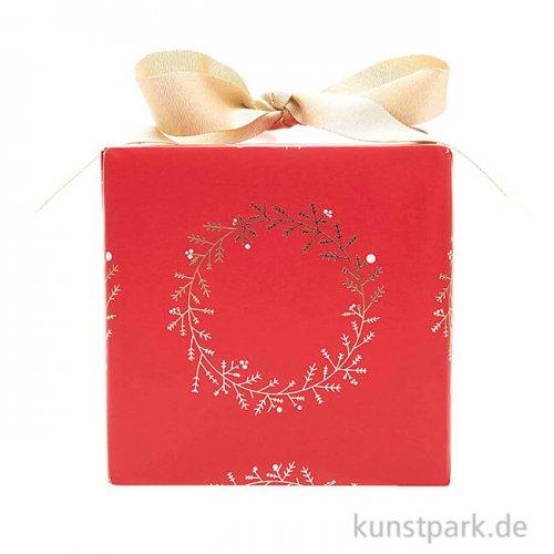 Geschenkpapier - Rot mit goldenen Kränzen, 200 x 70 cm