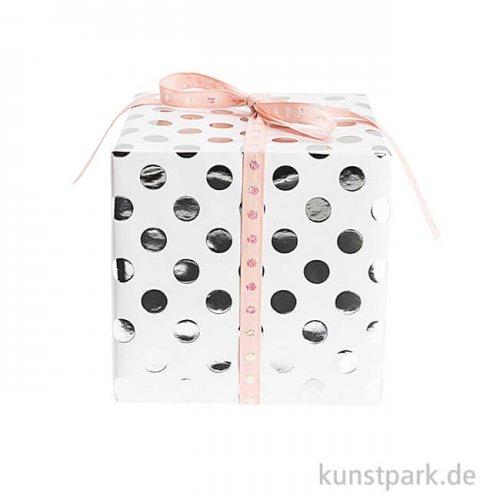 Geschenkpapier - Weiß mit Silber Punkte, 200 x 70 cm
