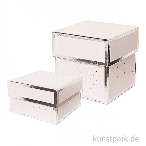 Geschenkschachtel Eckig - Weiß & Silber