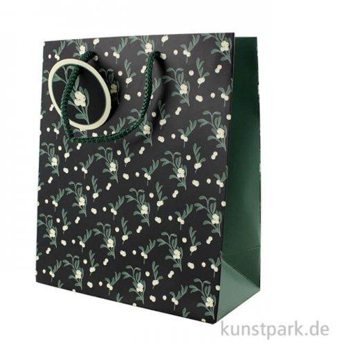 Geschenktasche Smaragd mit Geschenkanhänger, 21,5 x 25,3 cm