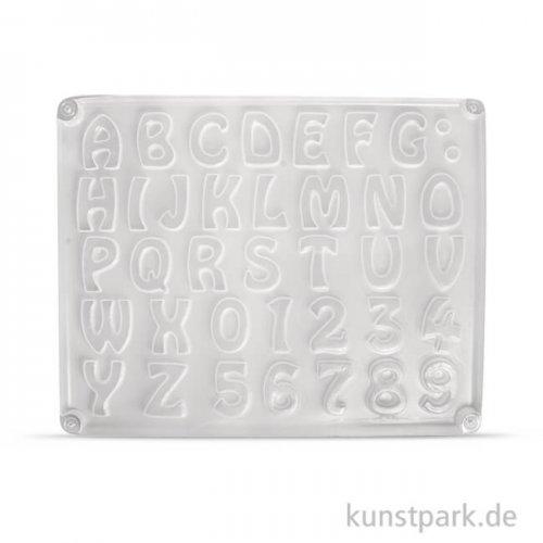 Gießform - Buchstaben und Zahlen, 37 Motive, 2 - 3 cm