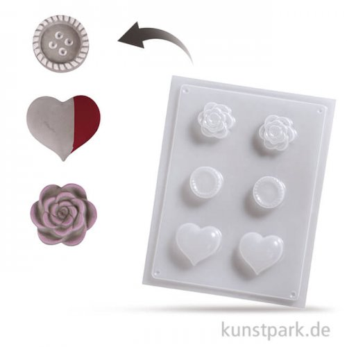 Gießform - Deko Knäufe, 3 x 2 Motive, 4 bis 5,5 cm