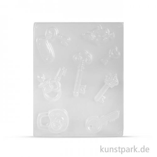 Gießform - Glücks-Schlüssel, 8 Motive, 3,5 - 7 cm