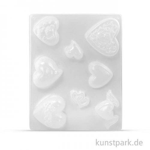 Gießform - Herzen, 8 Motive, 3,5 - 7 cm