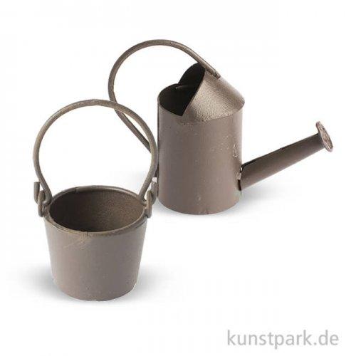 Mini Gießkanne und Eimer aus Metall - Rost, 5 cm