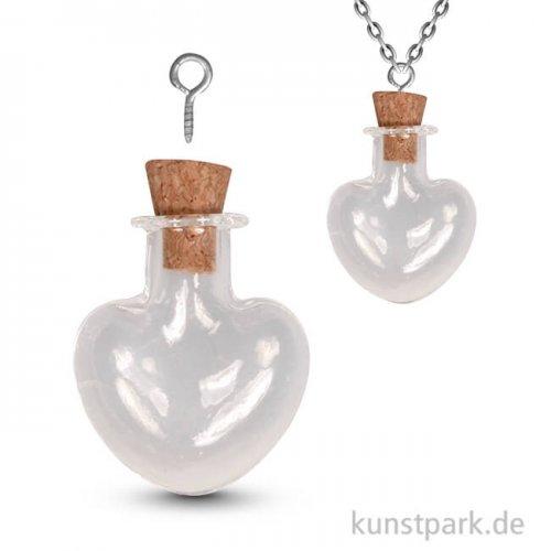 Glas-Anhänger Herz Vintage Collection mit Korkverschluss - 2,2x3 cm