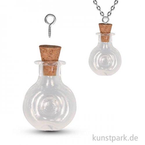 Glas-Anhänger Rund Vintage Collection mit Korkverschluss - 1,9x2,9 cm