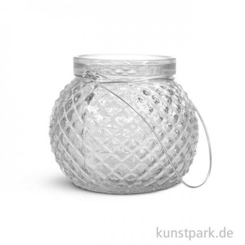 Glas Gefäß mit Henkel, 6,5 cm Durchmesser, Höhe 9 cm