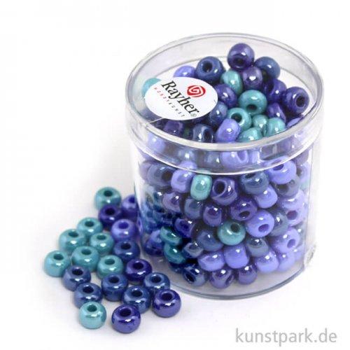 Glas-Großlochradl Blau-Türkis Mix, opak 55 g Dose   6 mm